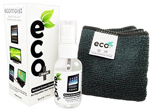 Screen Cleaner KIT + Fine Microfiber Towel - All Natural - MADE IN UK, GREEN PRODUCT, NO AMMONIA AND ALCOHOL, Cleans All Dusts and stains, Best for LED / LCD / Plasma / Laptop, iPhone, iPad, Computers, Touch screens, CD's and Vinyl Records without harming the coating etc.