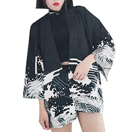 Drachen Kimono (Vimbhzlvigour Damen Strickjacke schwarz Schwarz)