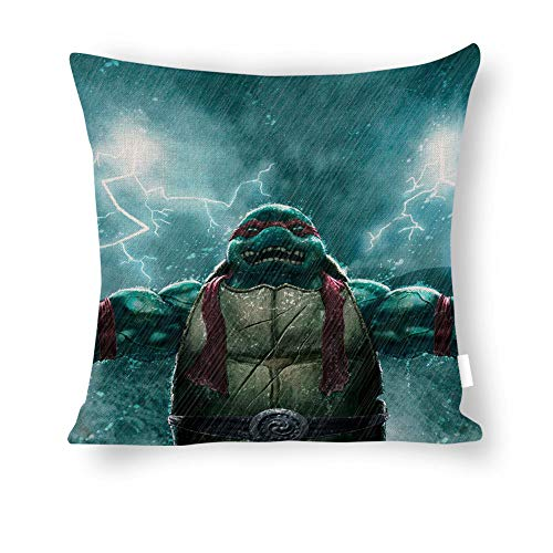 Dartys Pillow Cover Teenage Mutant Ninja Turtles rain Raphael Baumwolle und Leinen Pillowcase Klassische Mode Streifen Bunte 18×18 Zoll Kissen