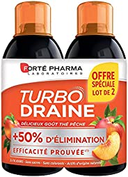 TurboDraine Thé-Pêche | Complément Alimentaire à base de thé vert - Elimination et drainage | Lot de 2 x 500 m