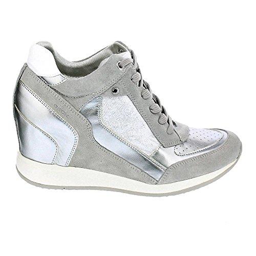 Geox Damen D Nydame A Hohe Sneaker Silber (lt Grigio / Argento)