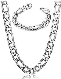 BESTEEL 12MM Conjunto Collar y Pulsera para Hombre Acero Inoxidable Cadena Figaro Collar Pulsera Plata 56CM+21CM