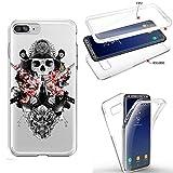 Coque Iphone 7 Plus 8 Plus integrale samourai Tete de Mort Fleur Katana Bushi Transparente