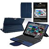 Housse étui conçu spécialement pour Microsoft Surface Pro 3 avec film protecteur d'écran (bleu foncé)