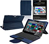 Navitech - Microsoft Surface Pro 3 Blue Bycast Leather Case / Cover & Anti Glare Screen Protector / Guard