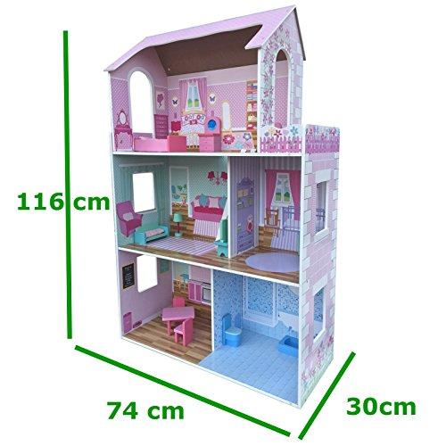 XXL Puppenhaus aus Holz MDF Wooden Doll Haus mit Möbeln 3 Etagen - HÖHE 116 cm (Barbie Haus Villa)