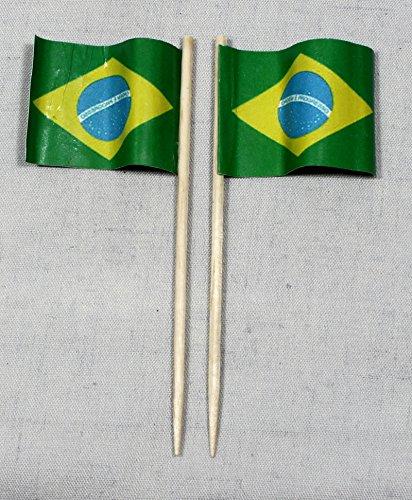 Brasilien Papierfähnchen in Profiqualität 50 Stück 8 cm Offsetdruck Riesenauswahl aus eigener Herstellung ()