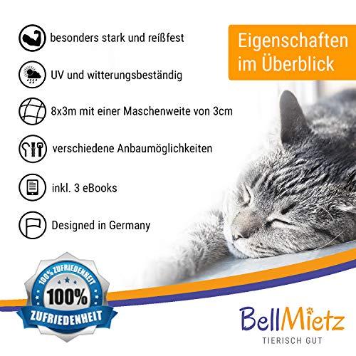 BellMietz Katzennetz für Balkon und Fenster | Extragroßes 8x3m Katzen-Schutznetz | Inkl. 25m Befestigungsseil | Balkonnetz mit Gratis Ebook - 6