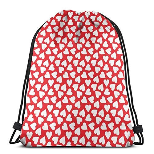 Rote und weiße Herzen Valentinstag_1333 Kordelzug Rucksack Rucksack Umhängetaschen Leichte Sporttasche zum Wandern Yoga Gym Schwimmen Travel Beach