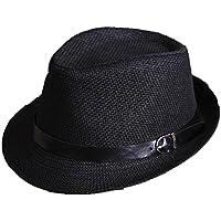 Leisial Sombreros de Jazz de los Niños Sombrero de Paja Playa Sombrero del  Sol Gorro de f8cfeee7f3f