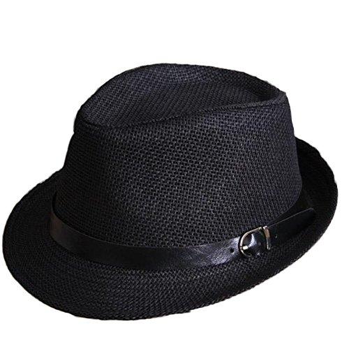 Leisial Mode Reine Farbe Kinder Fedora Hut Junge Mädchen Trilbyhut Panamahut Sonnenhut Hüte Jazzhut Kappe 52CM (Schwarz) (Für Jungen Fedora-hut)