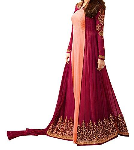 Ethnic Yard Designer Embroidered Faux Georgette Festive Wear Anarkali Salwar Kameez