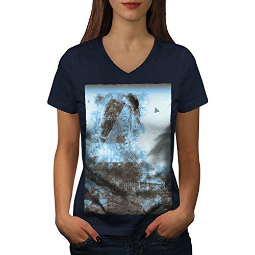 wellcoda Abstrakt Geige Kunst Musik Frau L V-Ausschnitt T-Shirt