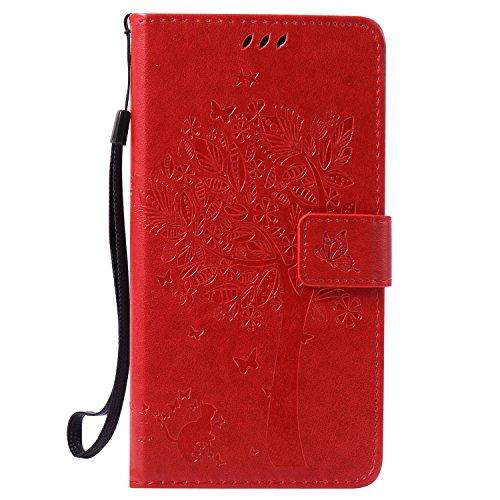 kelman Hülle für Wiko Pulp Fab 4G Hülle Schutzhülle PU Leder + Soft Silikon TPU Innere Schale Mode Prägung Brieftasche Flip Halterung Handyhülle - [KT10 - Rot]
