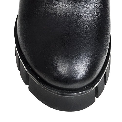 VogueZone009 Damen Überknie Hohe Stiefel Gemischte Farbe Ziehen Auf Hoher Absatz Stiefel Schwarz
