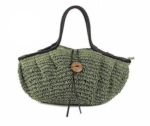 Borsa a tracolla di paglia della spalla Sacchetti di lavoro a maglia tessuti a maglia delle signore di estate Tote di estate della spiaggia di viaggio dell'annata , red Green