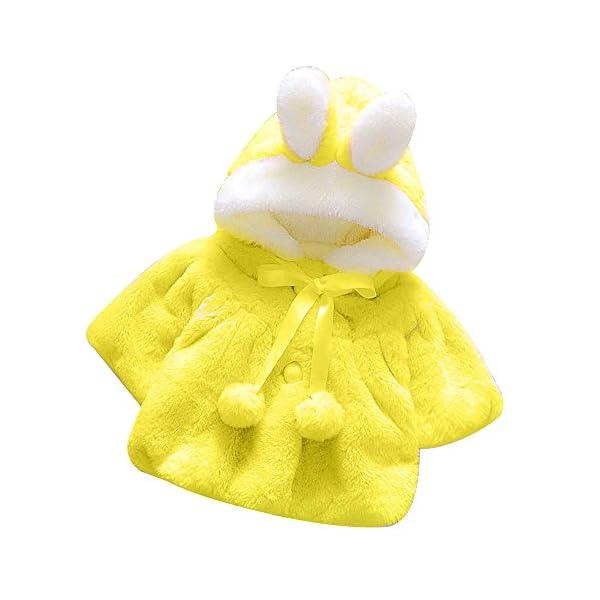 LANSKIRT Infantil del bebé Niñas Invierno de Pieles Abrigo cálido Chaqueta de Capa Oreja de Dibujos Animados de Felpa… 1