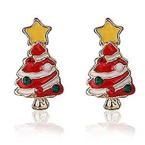 qobobo® 2x Orecchini/Orecchini di Albero di Natale e Stella, Regalo di Natale in Acciaio inossidabile