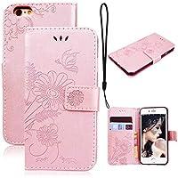 CE-Link für iPhone 6S Hülle, iPhone 6 Handyhülle Hülle Ledertasche Schutzhülle Leder Huelle mit Rosegold Schmetterling... preisvergleich bei billige-tabletten.eu