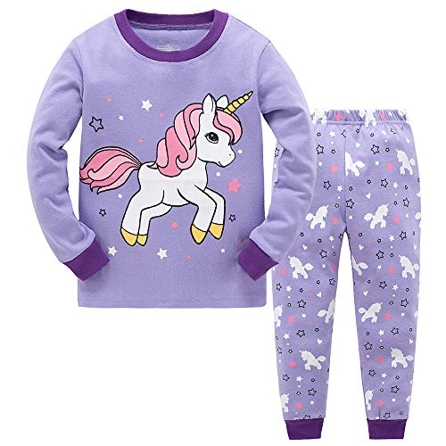 Garsumiss Mädchen Schlafanzug,Purple 3,9 Jahre