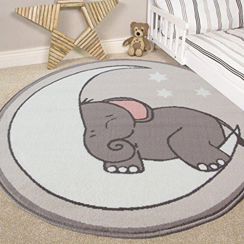 """Alfombra para cuarto de bebé con diseño de luna, estrellas y elefante, estilo guardería , Gris, 120cm (3'11"""") Diameter"""