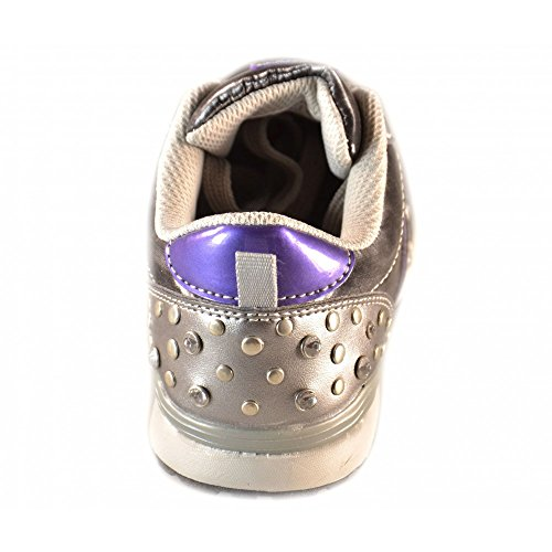 Naturino - Naturino Chaussures petite Fille Noir Cuir Lacets Strass Sport 395 Argent