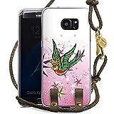 DeinDesign Samsung Galaxy S7 Edge Carry Case Hülle zum Umhängen Handyhülle mit Kette Schwalbe Bird Vogel