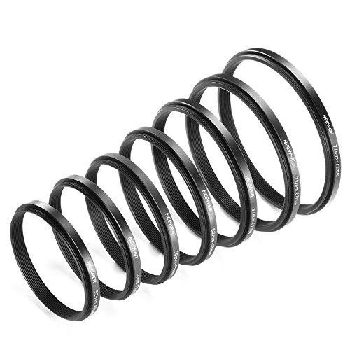 Juego de anillos adaptadores reductores Neewer®, 7piezas, hechos de aluminio anodizado, incluye: 77-72 mm, 72-67 mm, 67-62 mm, 62-58 mm, 58-55 mm, 55-52 mm, 52-49 mm, color negro.