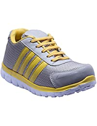 Savie Shoes Silver & Yellow Men's Casual Sport Shoes