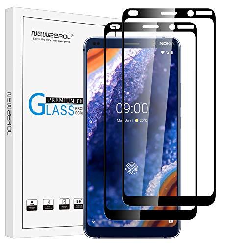 NEWZEROL 2 Packs Compatibile per Nokia 9 PureView Vetro Temperato Full Adhesive [Full Coverage] 9H Pellicola Protettiva in Vetro Temperato Anti-graffio Anti-Bubble Film per Nokia 9 PureView-Edge Nero