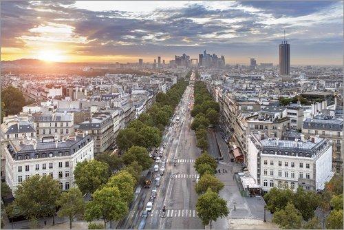 Posterlounge Tableau en Verre Acrylique 30 x 20 cm: Sunset in Paris de Sascha Kilmer