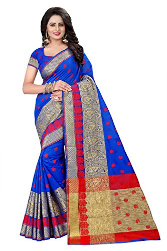 Mona Designer Women's Cotton Silk Saree (Keri_Blue)