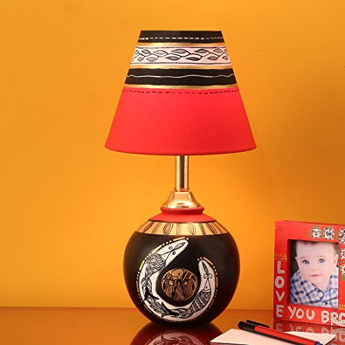 ExclusiveLane 'Madhubani Shimmers' Hand-Painted Pot Shaped Round Table Lamp In Terracotta -Night Lamps Indoor Lighting Decorative Gift Item Wooden Modern Table Lamp  available at amazon for Rs.1649