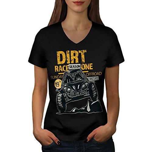 Schmutz Rennen Auto Mode Damen M V-Ausschnitt T-shirt   Wellcoda