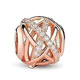 Argent sterling 925Or rose Galaxy Charm ajouré Charms avec Clear CZ Birthday Cufflinks Charm Fleur Charm pour bracelet à breloques Pandora Rose Gold-plated