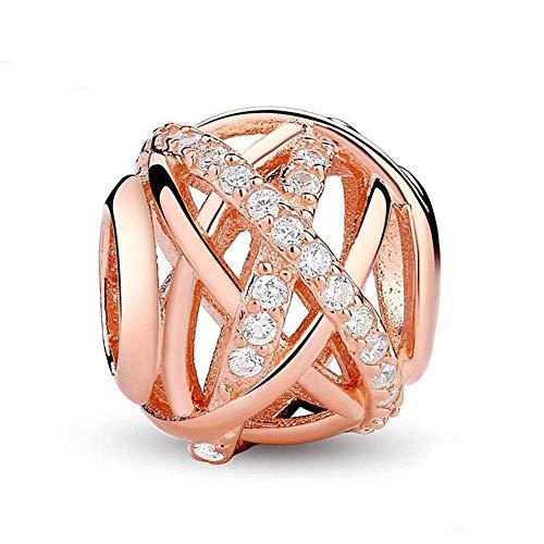 Charm-Anhänger für Pandora-Charm-Armband, 925er Sterlingsilber, rotgoldene Galaxie, durchsichtige Zirkonia, Jahrestag, Blumen-Charm Rose Gold-plated