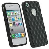 igadgitz Golfball Effekt Schwarz Dauerhafte Kristall Gel Skin (Thermoplastische Polyurethane TPU) Tasche Case Hülle Schutzhülle für Apple iPhone 16GB 32GB 64GB 4S + Displayschutzfolie