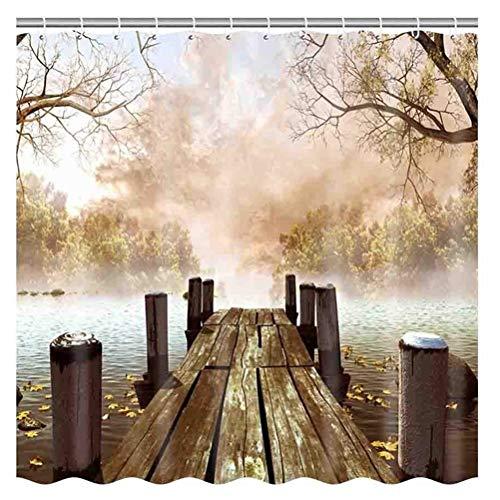 ZSZT Cortina de Ducha Impermeable Resistente al Moho, Cortinas Baño de Tela 180X180cm Poliéster 3D Diseño Puente de Madera con 12 Anillos