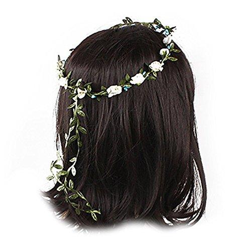 Bandeau-SODIAL(R) Dame Boho Floral Fleurs Festival Mariage guirlande Front Bandeau de cheveux Beige