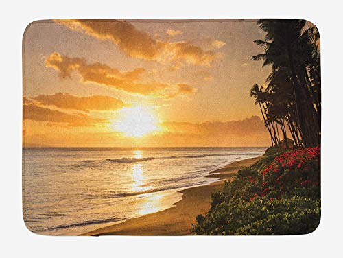 Hawaiian Bath Mat, Warm Tropical Sunset on Sands of Kaanapali Beach in Maui Hawaii Traveling, Plush Bathroom Decor Mat with Non Slip Backing, 23.6 W X 15.7 W Inches, Orange Green Pink