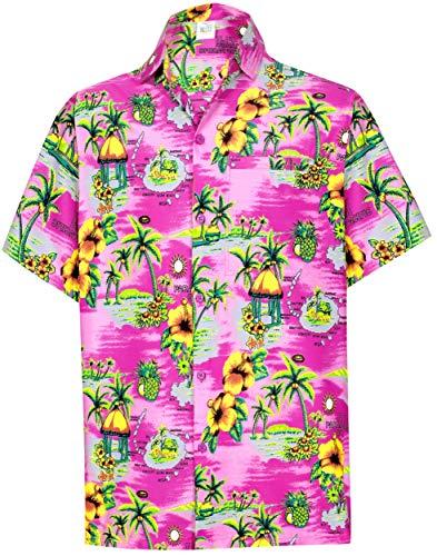 Hibiscus-aloha-shirt Herren (LA LEELA Funky hawaiihemd Hawaiian Beach Hemd Herren-gespreizten Kragenknopf unten lässig Vortasche Hibiskus Palme Hawaiihemd gedruckt XS Rosa_Aa115)