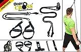 BodyCROSS Schlingentrainer   Handmade in Germany   Profi Sling Trainer   inkl. Springseil, Übungsposter, 10-Wochen Trainingsplan und Intervall Musik CD   Rope Trainer   Variante: (Schwarz + Spacer)