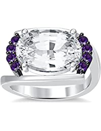 Silvernshine 4Ct Oval & Round Cut Sim Amethyst Diamonds 18K White Gold Plated Engagement Ring