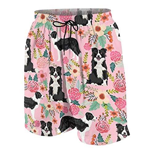 magic ship Border Collie Florals Cute Pink Flowers Boys Beach Shorts Quick Dry Beach Swim Trunks Kids Swimsuit Beach Shorts,Boys' Match Play Polo Shorts XL Childrens Place Blue Jean