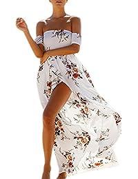 Irina007 Mujer Verano Bohemio Chifón De Hombro Playa Vestido De Estampado Floral Largo