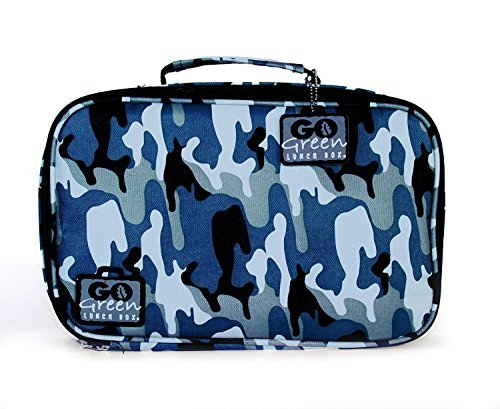 Go Lunch-box Green (Go Green 5 Compartment Leakproof Lunch Box & Case (Blue Camo) by Go Green Lunchbox)