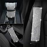 UR URLIFEHALL - Funda para cinturón de seguridad y funda para freno de mano y cojín de cambio de marchas con cristales brillantes para decoración de coche