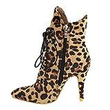 Chaussures à La Mode Imprimées Léopard à Bout Pointu en Daim à Talons Fins Bottes Martin Femme