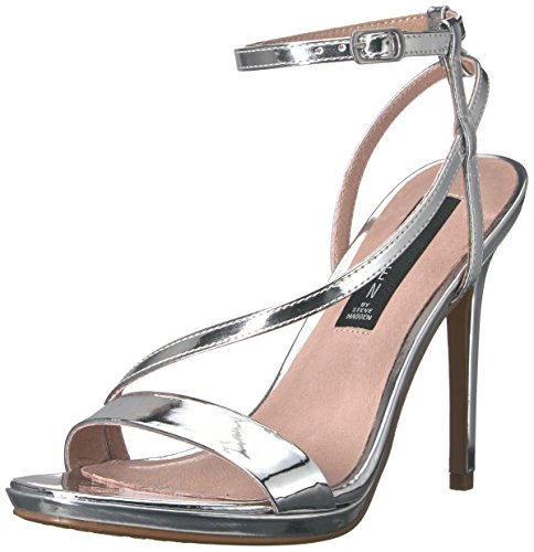 STEVEN by Steve Madden Womens Rees Dress Sandal Silver Foil