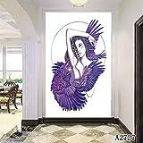XIANRENGE Nordic Druckplakat Malerei Abstrakte Mädchen Und Vogel Moderne Leinwand Kunst Bilder Für Wohnzimmer Wohnkultur 60×100Cm